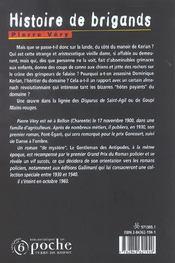 Histoire de brigands - 4ème de couverture - Format classique
