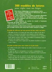 300 Modeles De Lettres Et Contrats 2001 - 4ème de couverture - Format classique