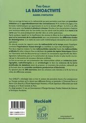 La radioactivité - 4ème de couverture - Format classique