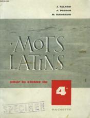 MOTS LATINS POUR LA CLASSE DE 4e. - Couverture - Format classique