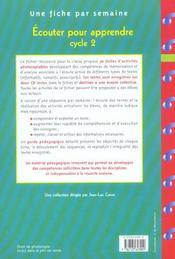 Écouter pour apprendre ; cycle 2 ; fiches à photocopier - 4ème de couverture - Format classique