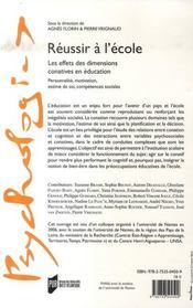 Reussir à l'école ; les effets des dimensions conatives en éducation - 4ème de couverture - Format classique