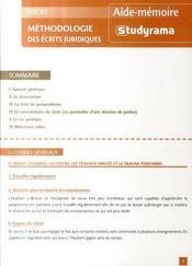 Methodologie des ecrits juridiques - Intérieur - Format classique