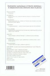 Contraintes syntaxiques et liberte stylistique : le deplacement des elements dans la phrase - 4ème de couverture - Format classique