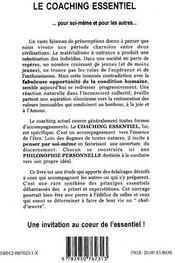 Le coaching essentiel t.1 ; au coeur de la pensee - 4ème de couverture - Format classique
