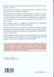 Psychiatrie Legale Sociale Hospitaliere Expertale - 4ème de couverture - Format classique