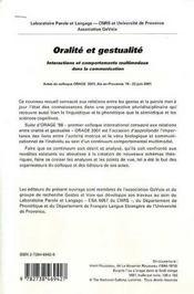 Oralite Et Gestualite ; Interactions Et Comportements Multimodaux Dans La Communication - 4ème de couverture - Format classique