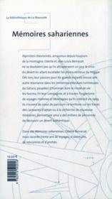 Memoires sahariennes - 4ème de couverture - Format classique
