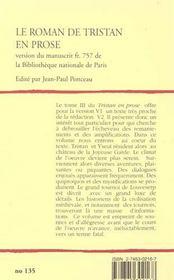 Le Roman De Tristan En Prose T.3 ; De L'Arrivee Des Amants A La Joyeuse Garde Jusqu'A La Fin Du Tournoi De Louveserp - 4ème de couverture - Format classique