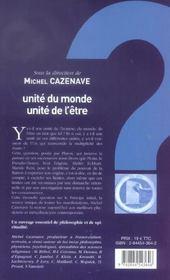 Unite Du Monde, Unite De L'Etre - 4ème de couverture - Format classique