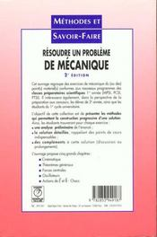 Resoudre un probleme de mecanique - 4ème de couverture - Format classique