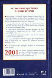 Conseiller Quotidien De Votre Retraite 2001 - 4ème de couverture - Format classique