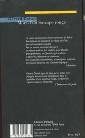 Mort d'un satrape rouge - 4ème de couverture - Format classique