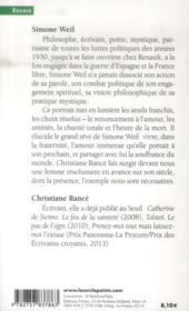 Simone Weil ; le courage de l'impossible - 4ème de couverture - Format classique