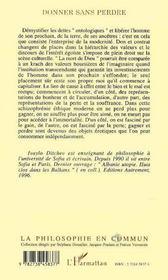 Donner Sans Perdre ; L'Echange Dans L'Imaginaire De La Modernite - 4ème de couverture - Format classique