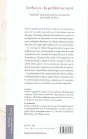 Confucius, du profane au sacré - 4ème de couverture - Format classique