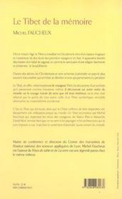 Tibet De La Memoire - 4ème de couverture - Format classique