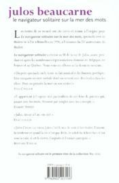 Navigateur Solitaire Sur La Mer Des Mots - 4ème de couverture - Format classique