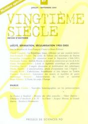 Revue Vingtieme Siecle N.87 ; Laïcité, Séparation, Sécularisation 1905-2005 - Intérieur - Format classique
