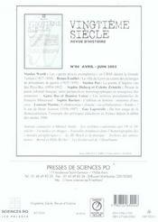 Revue Vingtieme Siecle N.87 ; Laïcité, Séparation, Sécularisation 1905-2005 - 4ème de couverture - Format classique