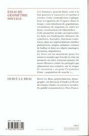 Essai de géométrie sociale - 4ème de couverture - Format classique