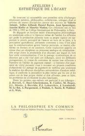 Ateliers T.1 ; Esthetique De L'Ecart - 4ème de couverture - Format classique