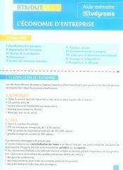 Bts/dut ; L'Economie D'Entreprise - Intérieur - Format classique