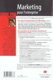 Guide Marketting Pour L'Entreprise - 4ème de couverture - Format classique