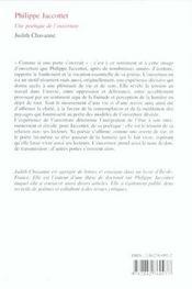 Poetique De L'Ouverture (Une) Philippe Jaccottet - 4ème de couverture - Format classique
