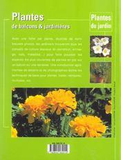 Plantes De Balcons Et Jardinieres - 4ème de couverture - Format classique