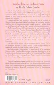 Balades littéraires dans Paris de 1848 à l'affaire Dreyfus - 4ème de couverture - Format classique