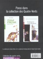 Revue L'Avant-Scene Theatre N.1128 ; Le Vent Des Peupliers - 4ème de couverture - Format classique