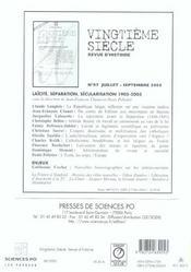 Revue Vingtieme Siecle N.88 ; Enjeux, Points De Vue - 4ème de couverture - Format classique