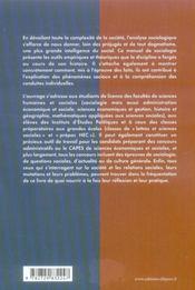 Sociologie ; théories et analyses - 4ème de couverture - Format classique