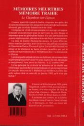Memoires Meurtries Memoire Trahie - 4ème de couverture - Format classique