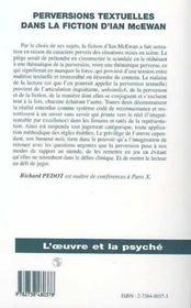 Perversions Textuelles Dans La Fiction D'Ian Mcewan - 4ème de couverture - Format classique