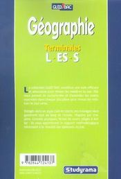 Geographie Terminale L/Es/S - 4ème de couverture - Format classique