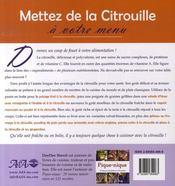 Citrouille ; un aliment exceptionnel pour les 12 mois de l'année - 4ème de couverture - Format classique