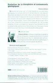 Évolution de la biosphère et événements géologiques - 4ème de couverture - Format classique