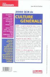 2000 Qcm De Culture Generale (2006) - 4ème de couverture - Format classique