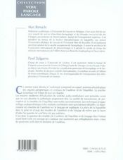 Précis d'audiophonologie et de déglutition t.1 ; l'oreille et les voies de l' audition - 4ème de couverture - Format classique