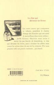 Chat Qui Devorait Les Livres (Le) - 4ème de couverture - Format classique