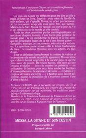 La Gitane Et Son Destin - 4ème de couverture - Format classique