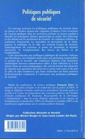 Politiques publiques de sécurité - 4ème de couverture - Format classique