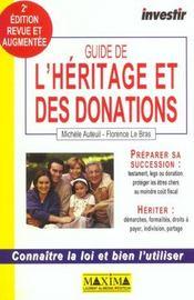 Guide Investir De L'Heritage Et Des Donations ; 2e Edition - Intérieur - Format classique