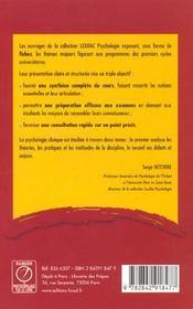 Psycho clinique t.1 ; lexifac - 4ème de couverture - Format classique