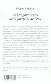 Le Langage Secret De La Pierre Et De L'Eau - 4ème de couverture - Format classique