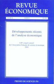 REVUE ECONOMIQUE N.56/3 ; développements récents de l'analyse économique - Intérieur - Format classique