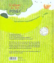 Album De Mon Poney (L') - 4ème de couverture - Format classique