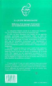 La Juste Democratie - 4ème de couverture - Format classique